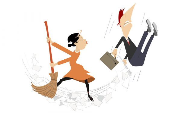 Cartoon,Woman,Tidying,Up,The,Office,With,The,Man,Illustration.